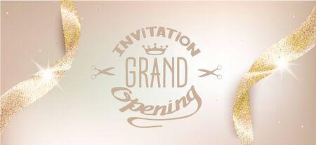 Elegante tarjeta de invitación beige de gran inauguración con cintas brillantes. Ilustración vectorial