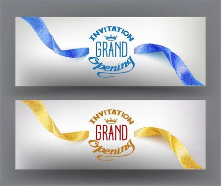 Elegant grand opening invitation card with sparkling ribbons. Vector illustration  イラスト・ベクター素材