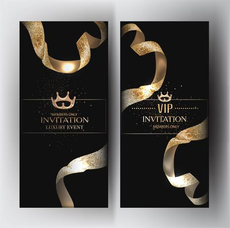 Elegant invitation cards with golden textured ribbons. Vector illustration
