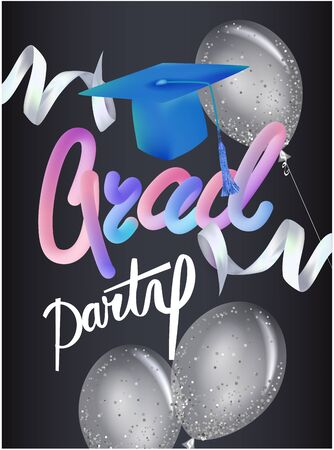 Grad party pose with air balloons, graduation cap and ribbons. Vector illustration