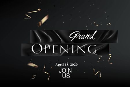 Grand opening banner with levitating black ribbons and confetti. Vector illustration