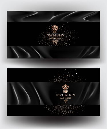 VIP cards with black atlas cloth and golden dust. Vector illustration