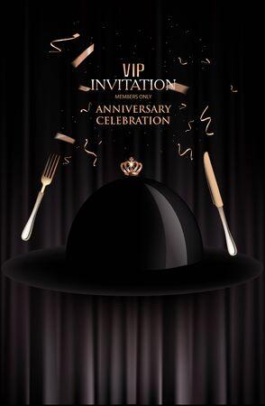 VIP invitation for dinner. Vector illustration