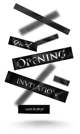 Grand opening banner with levitating pieces of cut ribbon. Vector illustration Ilustrace