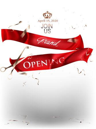 Grand opening banner with red cut levitating ribbons. Vector illustration Ilustrace