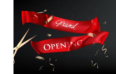 Grand opening banner with red cut ribbons and golden confetti. Vector illustration