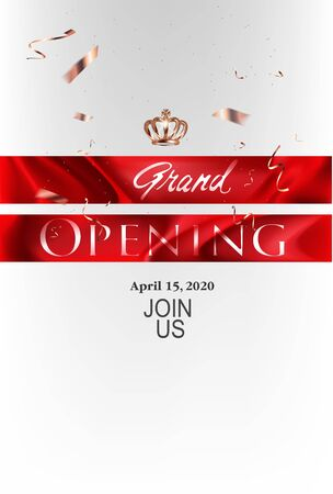 Grand opening banner with red ribbons and golden confetti. Vector illustration