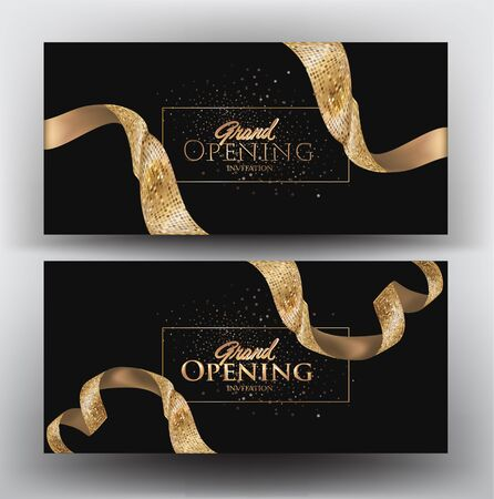 Grand opening banners with golden textured ribbons. Vector illustration