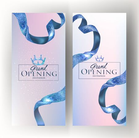 Grand opening banners with blue textured ribbons. Vector illustration