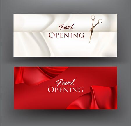 Grand opening invitation cards with atlas ribbons. Vector illustration Ilustrace