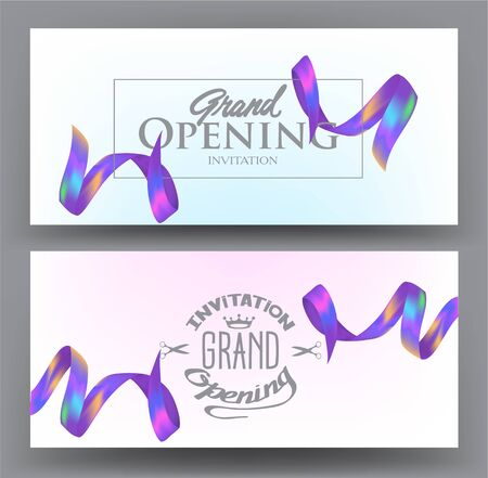 Grand opening invitation cards with bright colorful ribbons. Vector illustration