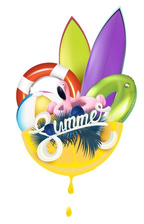Summer background with beach elements. View above. Vector illustration