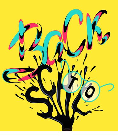 Back to school lettering with ink and glasses. Vector illustration Çizim