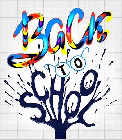 Back to school poster with colorful volume letters and student accessoires. Vector illustration