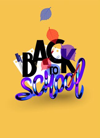 Back to school poster with writing materials and leaves. Vector illustration