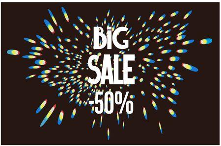 Blurred sparkling lights. Big sale poster. Vector illustration Иллюстрация