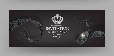 Invitation banners with black sparkling ribbons. Vector illustration