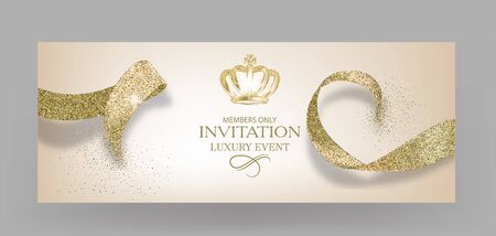 Invitation banners with sparkling golden ribbons