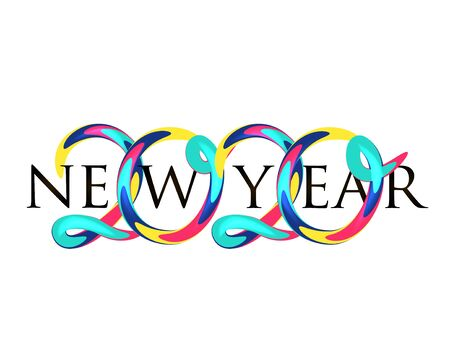 New year 2020 banner with colorful volume numbers. Vector illustration