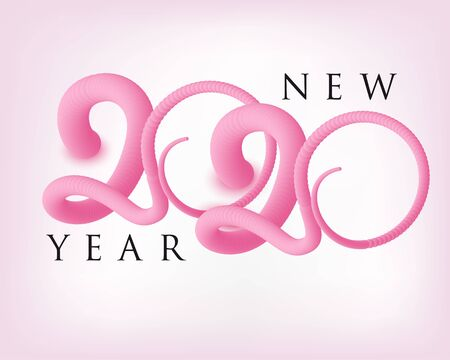 New year 2020 poster with mouses tails. Vector illustration Illustration