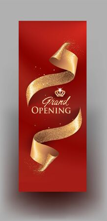 Elegant grand opening invitation banner with curly gold cut ribbons. Vector illustration Çizim