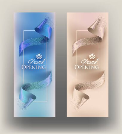 Elegant invitation vertical banners with curly cut ribbons. Vector illustration Çizim