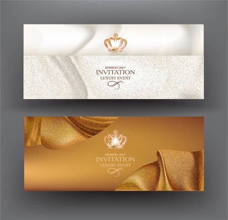 Grand opening blue and gold cards with curly sparkling ribbons. Vector illustration Ilustração