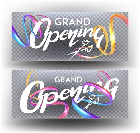 Grand opening banners with levitating ribbons and lettering. Vector illustration
