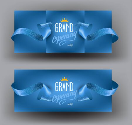 Grand opening blue invitation cards with sparkling ribbons. Vector illustration