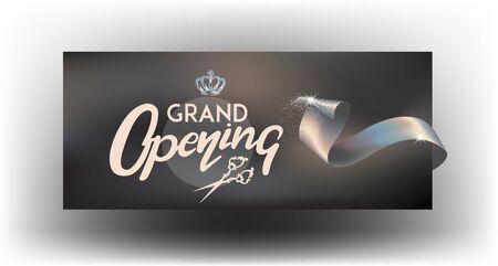 Grand opening elegant banner with ribbon. Vector illustration Ilustração