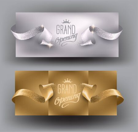 Grand opening god and silver invitation cards with beautiful sparkling ribbons. Vector illustration Ilustração