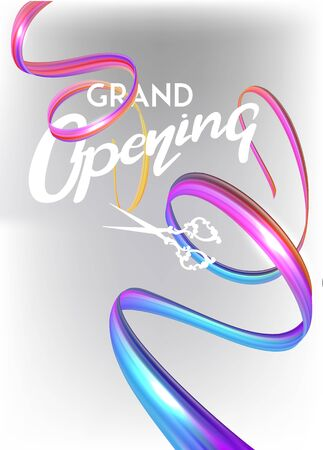 Grand opening invitation card with colorful cut curly ribbon. Vector illustration