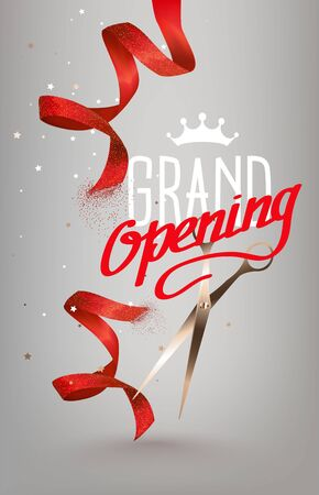 Grand opening invitation card with curly cut ribbons. Vector illustration 일러스트