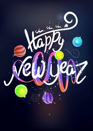 Levitating lettering happy new year, ribbon and christmas balls. Vector illustration