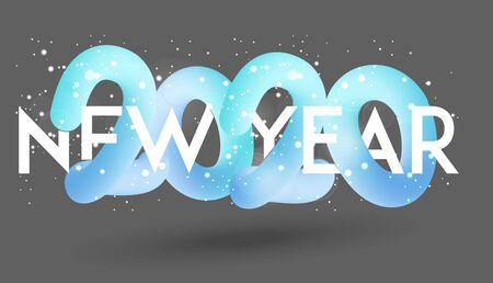 New year 2020 banner with falling snow and volume levitating numbers. Vector illustration Ilustração