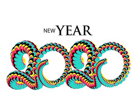 New Year 2020 colorful volume numbers. Vector illustration