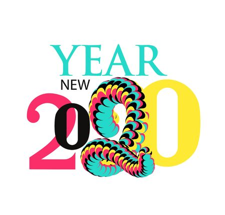New year 2020 poster with colorful different numbers. Vector illustration Ilustração