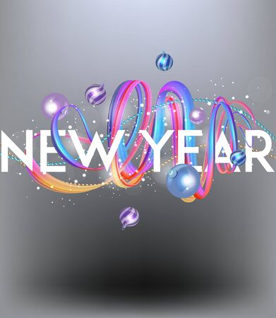 New year party poster with levitating garland, ribbons and balls. Vector illustration