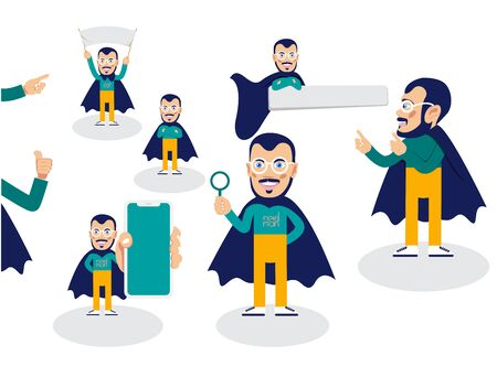 Superhero character in different positions. For presentation Vector illustration
