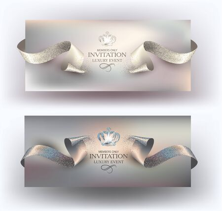 VIP invitation cards with cut sparkling ribbons. Vector illustration