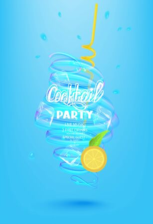 Cocktail party poster with cocktail elements and whirlpool. Vector illustration Ilustração