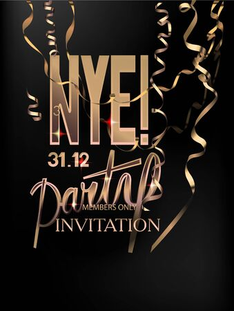 New year eve invitation card with golden hanging serpentine. Vector illustration