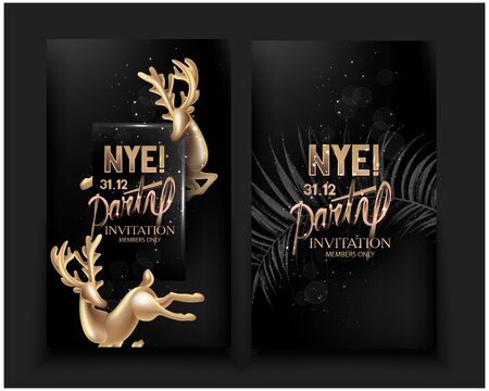 New year eve party invitation cards with gold deco deers and fir tree branch. Vector illustration