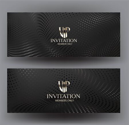 Vip invitation cards with halftone texture background. Vector illustration