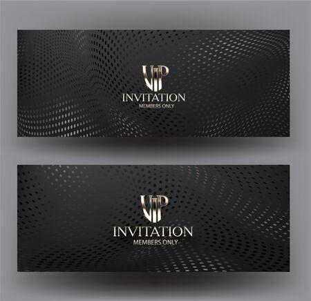 Tarjetas de invitación vip con fondo de textura de semitono. Ilustración vectorial Ilustración de vector