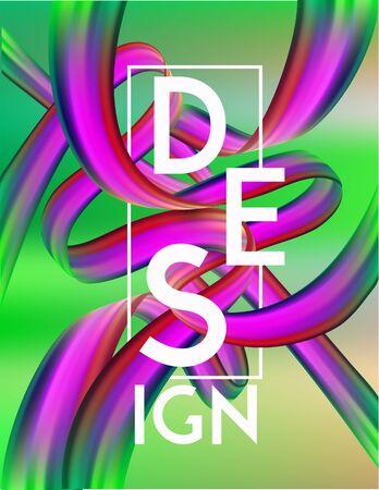Bright design concept poster with colorful ribbons. Vector illustration Ilustração