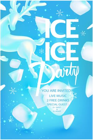 Ice party banner with ice rock pieces and ice reindeer. Vector illustration