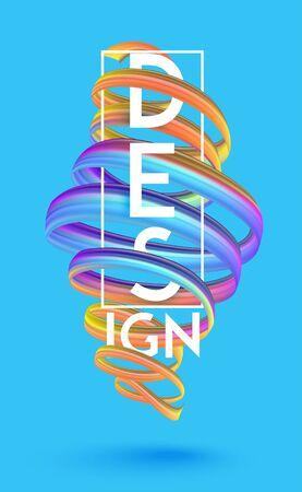 Colorful curly levitating ribbon. Design concept. Vector illustration