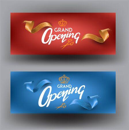 Elegant invitation banners with curly cut ribbons. Grand opening. Vector illustration Ilustração