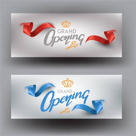 GRAND opening invitation banners with curly cut ribbons. Vector illustration